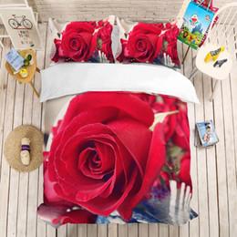 Comforters Flower Print Australia - Rose 3D Digital Printing Bedding Set colorful Flower Duvet Covers Pillowcases Comforter Bedding Sets Rose Bedclothes Bed Linen