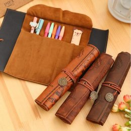 leather pencil case cosmetic bags Australia - 1Pc Creative Retro Treasure Map Pencil Cases Luxury Roll Leather PU Pen Bag Pouch For Stationery Supplies Cosmetic Bag