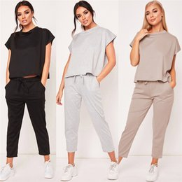 1030137f13bf4 2PCS Women Summer Tracksuits Set Short Sleeves Round Neck Lounge Wear Ladies  Solid Tops Suit Pants Plus Size Sports Yoga 293977  500553