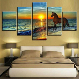 Sun Picture Australia - Unframe 5 Panels The Setting Sun Sea Wave animal horse Picture HD Canvas Print Painting Artwork Wall Art Canvas Painting