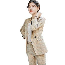 Korean Office Suits Australia - Women's Slim Fit Pants and Blazers Korean Two Piece Office Ladies Suits Plaid Elegant Woman Work Wear Pant Suit Women Pantsuits