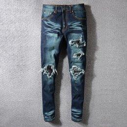 $enCountryForm.capitalKeyWord Australia - 2019 new high street trend hole men's jeans nostalgic dark blue AMIRI micro-elastic slim micro-elastic denim trousers