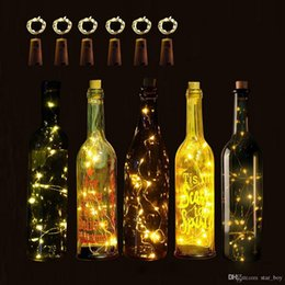 bottle lights NZ - Wine Bottle Light Kit With Cork Shaped Stopper 1M 10LED Lights Copper Silver String Lamp For Christmas Wedding Fairy Light Decoration