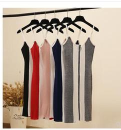 $enCountryForm.capitalKeyWord Australia - New fashion Women's sexy spaghetti strap color block zipper patchwork bodycon tunic knitted pencil dress knee length vestidos