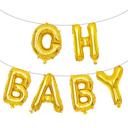 $enCountryForm.capitalKeyWord Australia - Oh Baby Shower Foil Balloons Gender Reveal gold balloons silver rose gold letters Aluminum Foil Balloons
