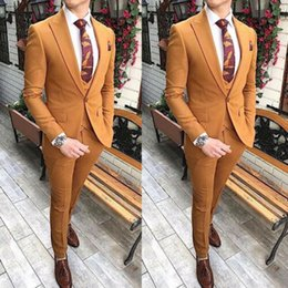 men yellow wedding suit Australia - Costume Homme New Arrival Groom Wedding Dress Men Slim Fit Custom Tuxedo One Button Men's Suit 3 Pieces Jacket Pant Vest
