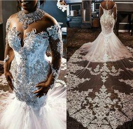 Beading high collar wedding dress online shopping - 2020 Plus Size Wedding Dresses Rhinestones Crystals Lace Beaded Long Sleeve Court Train South African Mermaid Wedding Dress Vestido De Novia