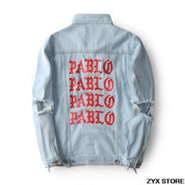 Military woMan coats online shopping - Best Version Pablo Print Denim Jacket Season3 Kanye West Pablo Jeans Jacket Hip Hop Paul Military Women Men Jackets Coat