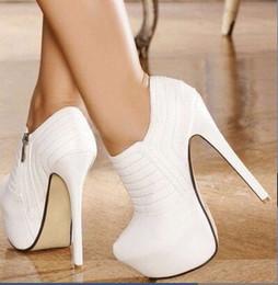 $enCountryForm.capitalKeyWord Australia - Post Free white car line leather fabrics, zippers, waterproof 4.5 cm, 16 cm high-heeled shoes, four seasons shoes