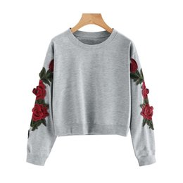 $enCountryForm.capitalKeyWord Australia - Laamei Fashion Women Long Sleeve Floral Embroidery Sweatshirts Autumn Cropped Hoodies Female Harajuku Short Pullover Crop Tops