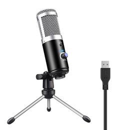 Wholesale Professional Microphone Condenser for Computer Laptop PC USB Plug +Stand Studio Podcasting Recording Microfone Karaoke Mic new