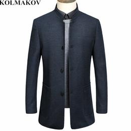 Smart Clothing NZ - KOLMAKOV New 2019 Men's Clothing Spring Smart Casual Woolen Coats Homme Mens Mandarin Collar Outwear High Quality Men Overcoats