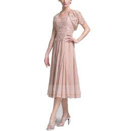 16e13de94a78 ANTI Pink Mother Of The Bride Abiti e pizzo manica corta giacca a linea tè  lunghezza abito da sera abito da sera