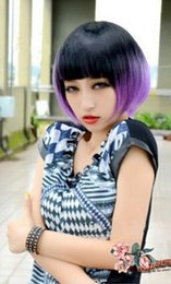 $enCountryForm.capitalKeyWord NZ - FREE SHIPPING ++ Black+Purple Retro Women Lady BOB hairpiece short straight Hair Full Wig Kanekalon no lace Hair wigs