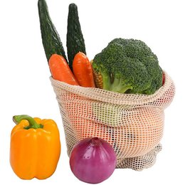 wholesale reusable drawstring bags UK - Cotton Mesh Vegetables Storage Bags for Kitchen Eco-friendly Fruit Organization Bag with Drawstring Reusable Washable free shipping