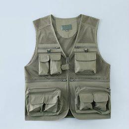 $enCountryForm.capitalKeyWord NZ - Green Tool Vest Male Summer Plus Size Mens Work Tactical Fishing Vest Casual V-neck Man Sleeveless Mesh Jacket Hot