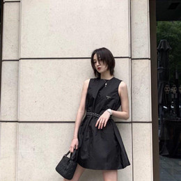 2020 European American explosions retro classic casual dress women dresses triangle OEM sleeveless advanced belt handsel nylon summer skits on Sale