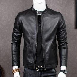 venda por atacado 2019 homens jaqueta de couro genuíno casaco de pele de carneiro para homens plus size jaquetas de couro de vaca real chaqueta hombre camero mt681 kj2283