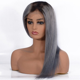 human hair grey lace front wigs Canada - Brazilian Straight Ombre Gray Lace Front Human Hair Hair Wigs Two Tone 1b Grey Glueless Lace Wig for Women