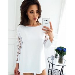 Lace Splice T Shirt Australia - New Style Autumn 2019 Casual Women T-shirts O-neck Lace Long Sleeve Spliced Pullover Slim Shirt Solid Color Female Shirt Tops