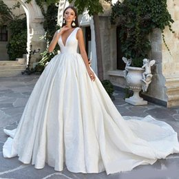 plus size wedding dresses taffeta Australia - Eva Lendel Bohemian Wedding Dresses Deep V Neck Backless Sweep Train Country Bridal Dress Bow Simple Plus Size Wedding Gowns