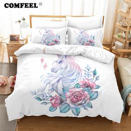 princess print bedding set 2019 - COMFEEL Pink Unicorn Bedding Sets Luxury Cotton Kids Princess Bed Duvet Cover Set Pillows Case Comfortable Bed Sheet & B