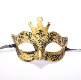 China 2019 Charm New Vintage Crown Carved Bronze Party Mask Ancient Rome Half Face Masquerade Masks for New Year Halloween Decorations suppliers