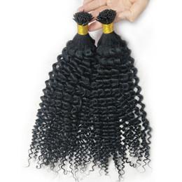 Venta al por mayor de Hot I Tip Extensión de cabello Cabello natural Rizado rizado Rubio Brasileño Remy Cabello 100 g 100 líneas 10-24 pulgadas Peinado explosivo Pre Bonded Barato