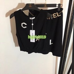 $enCountryForm.capitalKeyWord Australia - high end women girl knitted dress set vest crew neck sleeveless t-shirt tee top crystal belt mini short skirt fashion design luxury suit