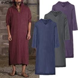 Men S Long Robe NZ - 2019 Harajuku Tee Hoody Robe Mens Hoodies Dressing Kaftan Long Sleeve Cotton Islamic Gown Hiphop Robe Sweatshirts Tops Big 5XL