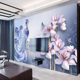 Wallpapers Stereo Australia - 3D stereo wallpaper jade carving peony flower rich mural TV background wall wall cloth living room peacock wallpaper