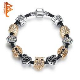 Rose Plated Bracelets Australia - BELAWANG Vintage Rose Gold Cute Owl Charm Bracelets Silver Plated Heart Jewelry For Women Wholesale Leather Bracelet&Bangle Free Shipping