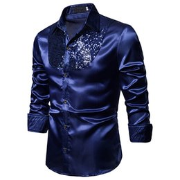 black sequin mens shirt Australia - Wholesale Price Fashion Mens Shirts Tops Nightclub Show Sequin Lapel Long Sleeve Button Blouse Men's Casual Shirts