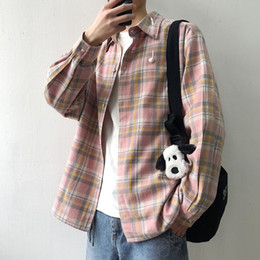 shirt youth Australia - Plaid Mens Shirts Short Sleeve Ulzzang Korean Loose Teenage Youth Men S-XXL Camisa Hombre Long Sleeved Plaid Shirt AA50CS