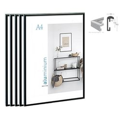 bamboo photo frames Australia - 5pcs bundle pack classic super narrow aluminum A4 poster frame for wall hanging metal photo frame certificate frame SH190918