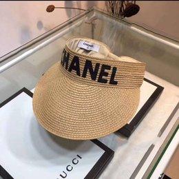 $enCountryForm.capitalKeyWord Australia - New Arrived Designer Caps Man Women Luxury Flat Straw Cap Wide Brim Hat Caps Breathable Brand Fitted Beach Hats 2 Style Option High Quality