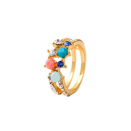 $enCountryForm.capitalKeyWord Australia - Gold Color Colorful Resin Rings Free Size Crystal Finger Ring For Women Party Gift Fashion Jewelry Drop Shipping New Arrival