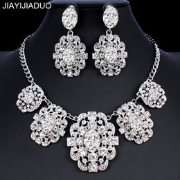 jewelry dropshipping Australia - jiayijiaduo African Jewelry Set Silver Gold Color Necklace Earrings Fashion Accessories for Women Fashion dropshipping new