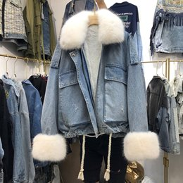 warm parkas for women NZ - Winter Warm Lamb Coat Big Pocket Denim Jacket For Women Thick Large Fur Loose Parka Plus Size Denim Parka For Winter SH190930