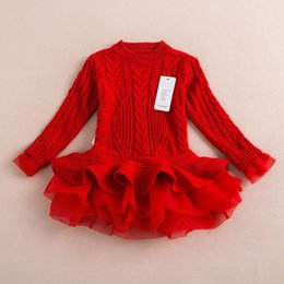 Red White Blue Tutus Australia - New Year's Red Warm Sweater Dress For Girls Knitted Pullovers Tops Outfits Kids Baby Girl's Clothing With Cute TUTU Lace