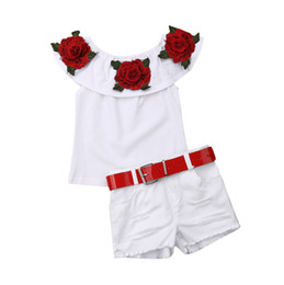 a98412390c56 2019Cute Baby Girl Kids Floral Shirts Top+Ripped Denim Shorts Hot New Baby  Girl Clothes Rose Embroidery Off Shoulder Top Shorts Set