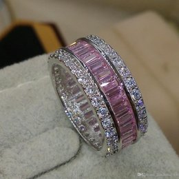 pink pave ring UK - Victoria Wieck Luxury Jewelry Full Princess Cut Pink Sapphire 925 Sterling Silver Simulated Diamond Gemstones Wedding Band Ring Size 5-11