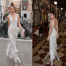 $enCountryForm.capitalKeyWord NZ - Berta 2020 Beach Lace Backless Wedding Dresses Beads Appliqued Backless Plunging Neckline Vintage Bridal Gowns Ankle Length Wedding Dress