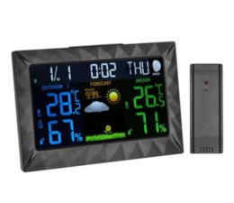 Color weather CloCk online shopping - Wireless Color LCD Digital Clock Hygrometer Barometer Weather Forecast with Alarm Snooze Moonphase Perpetual Calendar AC120V