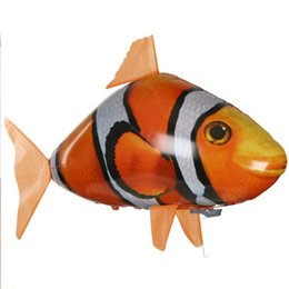 flying fish balloon UK - Remote Control Shark Toys Air Swimming Fish Infrared RC Flying Air Balloons Clown Fish Kid Toys Gifts Party Decoration Drop ship