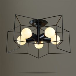$enCountryForm.capitalKeyWord Australia - Modern Style Metal Star-Shaped Cage 5-Light Black Semi Flush Mount Ceiling Light Living Room 110V