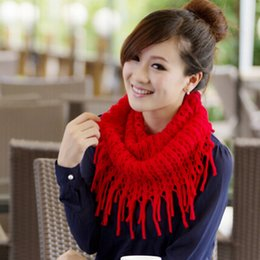 Cowl Snood Scarf Australia - 2017 Fashion Women Scarves Autumn Winter Warm Knit Wool Snood Scarf Cowl Neck Circle Shawl Wrap Ring Scarf Gift Femme