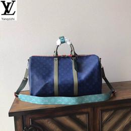 Yangzizhi Yeni M43855 Mavi Keepall 45 Seyahat Çantası Çanta Çanta En Kolları Omuz Çantaları Totes Akşam Çapraz Vücut Çanta
