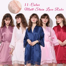 Wholesale Silky Women Lace Bath Robe Matt Satin Bride Bridesmaid Mother with Lace Robe Bridal Robes Wedding Party Gifts Bathrobe Dress