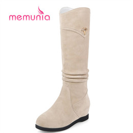 punk decoration Australia - MEMUNIA 2018 new arrive mid calf boots simple punk metal decoration winter snow boots med heels height increasing women